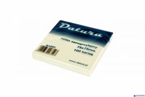 Bloczek samoprzylepny DATURA 75x75mm żółty 100 kartek (NS75/75D)