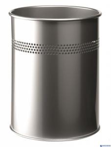Kosz na śmieci DURABLE metalowy okrągły 15L srebrny  330023