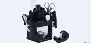 Przybornik na biurko EAGLE 370 S czarny obrotowy z wyposażeniem