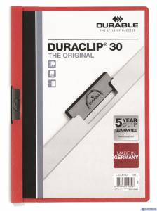 Skoroszyt z klipem A4 DURABLE DURACLIP 1-30 kartek czerwony 220003