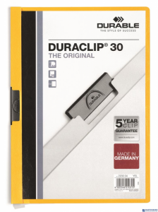 Skoroszyt z klipem A4 DURABLE DURACLIP 1-30 kartek żółty 220004