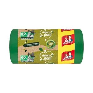 JAN NIEZBĘDNY Worki LD Ekologiczne zielone zawiązywane 60l 18 szt.35209