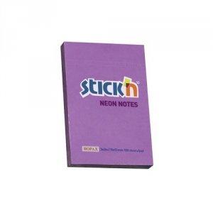 Bloczek samoprzylepny STICKN 76X51mm fioletowy neon 100k 21208 STICKN