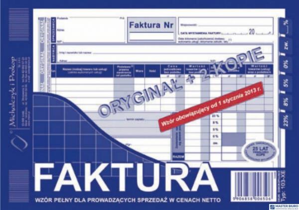 103-XE Faktura VAT MICHALCZYK&PROKOP A5 80 kartek oryginał+2kopie