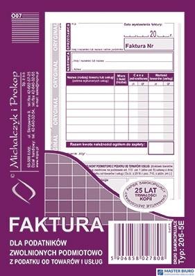 205-5E Faktura dla podatników zwolnionych z VAT A6 (o+1k) MICHALCZYK
