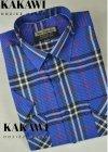 Koszula z kory kobaltowa w kratkę
