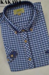 Sportowa koszula niebieska w kratkę nadwymiar.