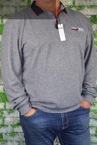 Sweter typu polo nadwymiar szary.