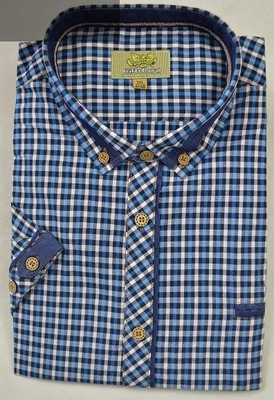 Sportowa koszula niebieska w chabrową kratę nadwymiar.