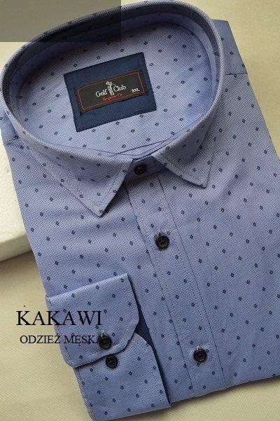 Koszula męska nadwymiar niebieska w romby.