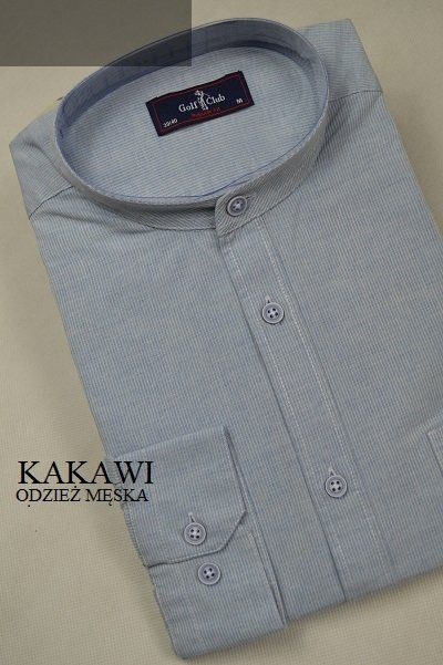 Koszula ze stójką niebieska slim