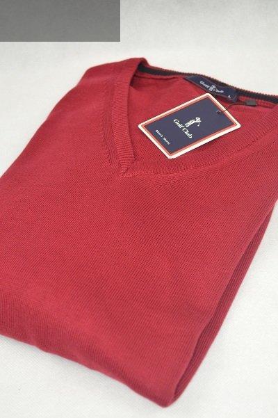 Elegancki sweter w serek bordowy