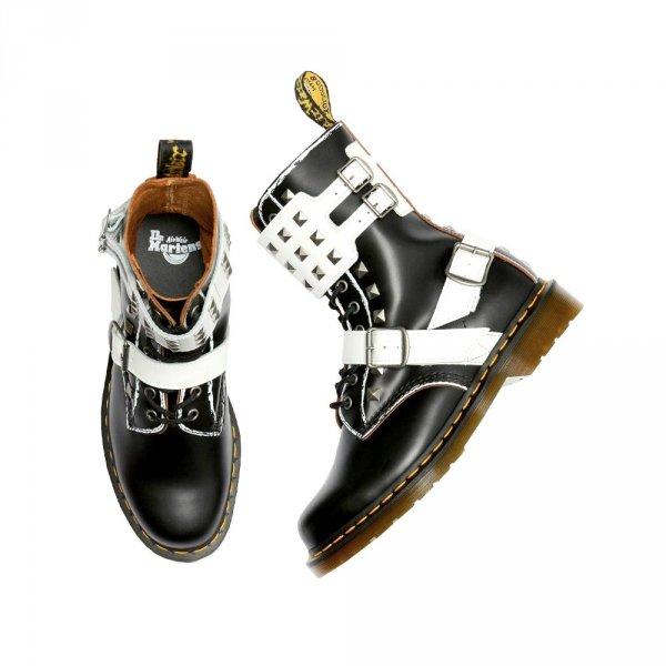 Buty Dr. Martens 1490 JOSKA STUD Black+White Rolled Vintage Smooth+Smooth 25171009