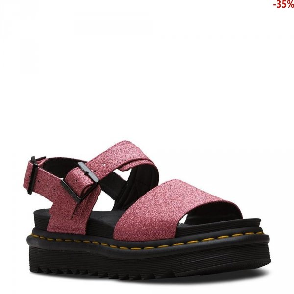 Sandały Dr. Martens VOSS Pink Fine Glitter PU 24818650