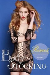 Bielizna-Rimes Bodystocking One Size No,7043 BLACK