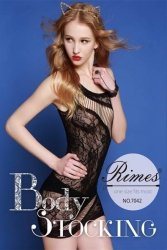 Bielizna-Rimes Bodystocking One Size No,7042 BLACK
