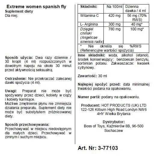 Krople dla kobiet -Spain Fly extreme women- 30ml