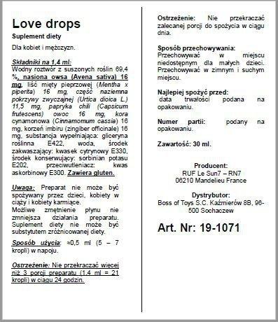 Afrodyzjak dla Pań -LOVE DROPS 30 ML
