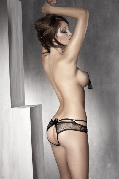 Bielizna-Permission black open panty L (czarne majtki)
