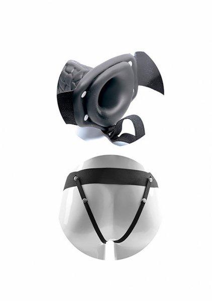 Proteza-VIBRATORE STRAP ON CAVO REAL RAPTURE 8 BLACK WITH BALLS