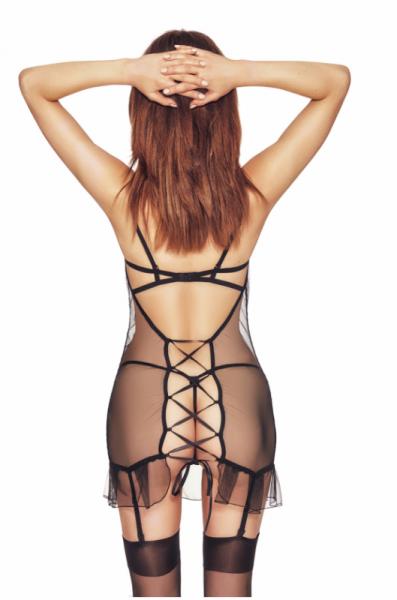 Luxx black L/XL (czarna halka&stringi/black chemise&string)