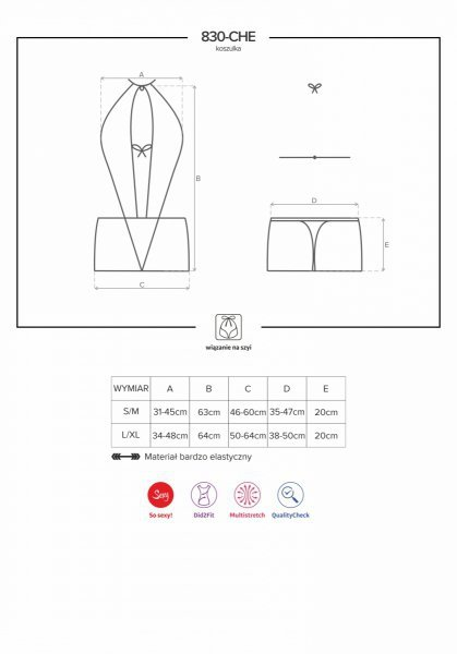830-CHE-1 koszulka i stringi kolor: czarny S/M