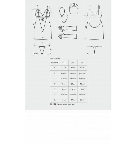 Medica sukienka kostium 5-częściowy + stetoskop S/M