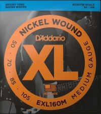 Struny D'ADDARIO Nickel EXL160M (50-105)