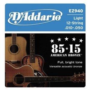 Struny D'ADDARIO 85/15 Bronze EZ940 (10-50) 12str.
