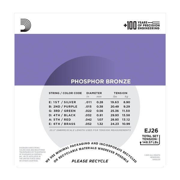 Struny D'ADDARIO Phosphor Bronze EJ26 (11-52)