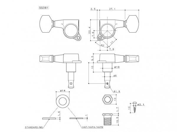 Klucze blokowane GOTOH SG381-07 MG (CR,6L)