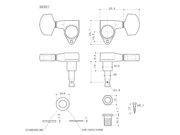 Klucze blokowane GOTOH SG301-04 MG (GD,3+3)