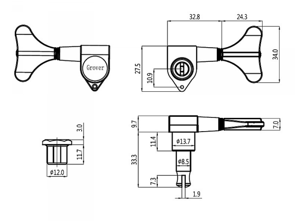 Klucze do basu GROVER 144 Mini (GD,4L)