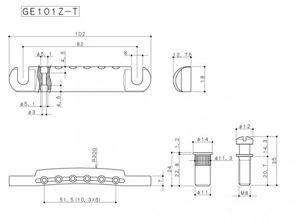 Zaczep strun GOTOH GE101Z-T (GD)