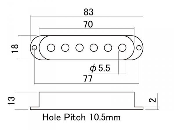 Osłona przystawki single-coil HOSCO PC-2 (BM)