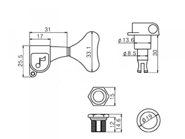 Pojedynczy klucz do basu JB-P600 (BK,L)