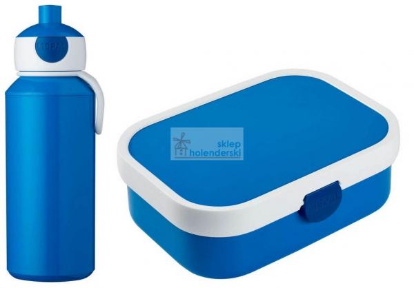 Zestaw bidon z dzióbkiem + lunchbox z wkładem i widelczykiem niebieska śniadaniówka bentobox Rosti Mepal Blue Campus 3.0, sklepholenderski.pl zdj.1