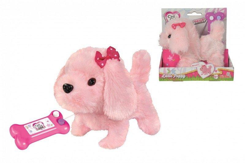 Maskotka Chi Chi Love Słodki szczeniak, na kabel,  różowy, 17 cm
