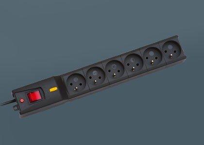 Listwa przeciwprzepięciowa LX 610, 1L, 5,0m, czarna