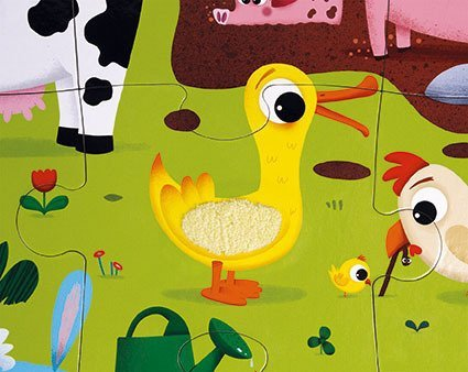 Puzzle sensoryczne 20 elementów Farma, Janod