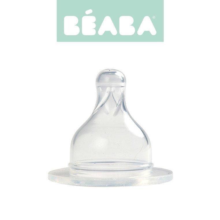 Beaba Zestaw 2 smoczków do butelek szerokootworowych, wolny przepływ 0m+