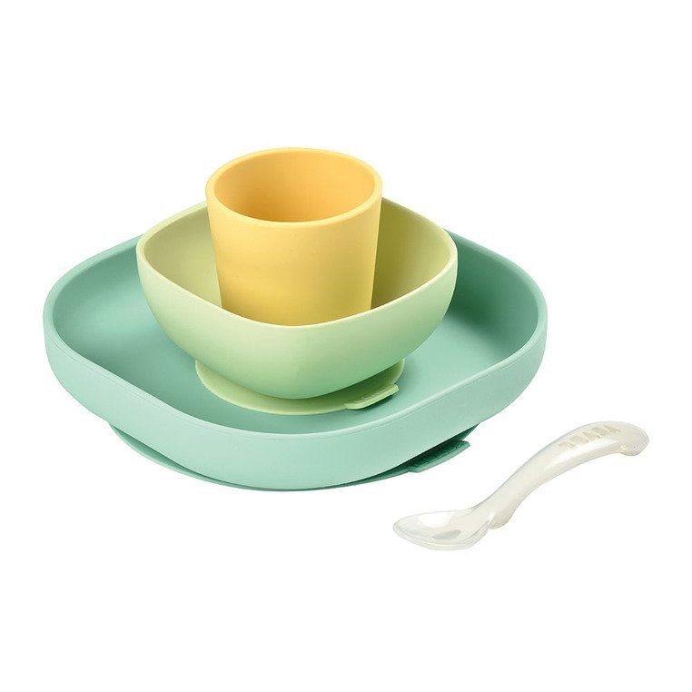 Beaba Komplet naczyń z silikonu z przyssawką yellow