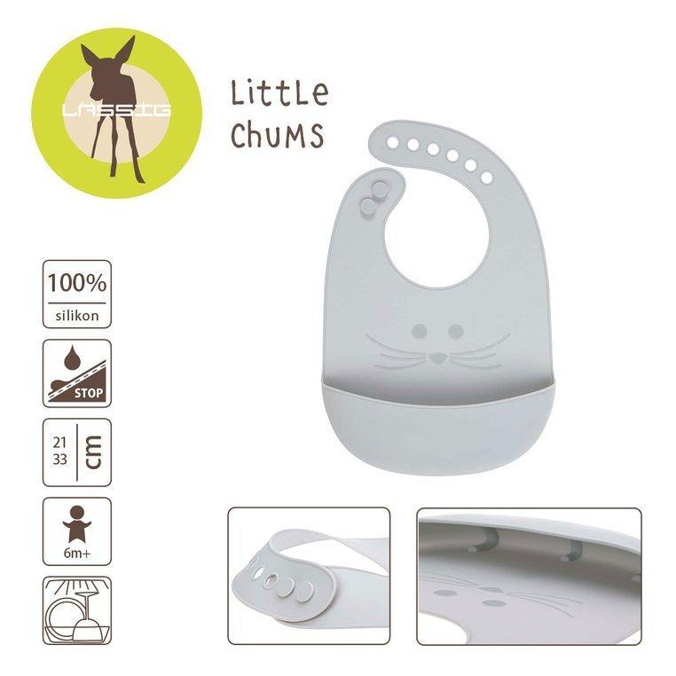Lassig Śliniak silikonowy z kieszonką Little Chums Mysz szary