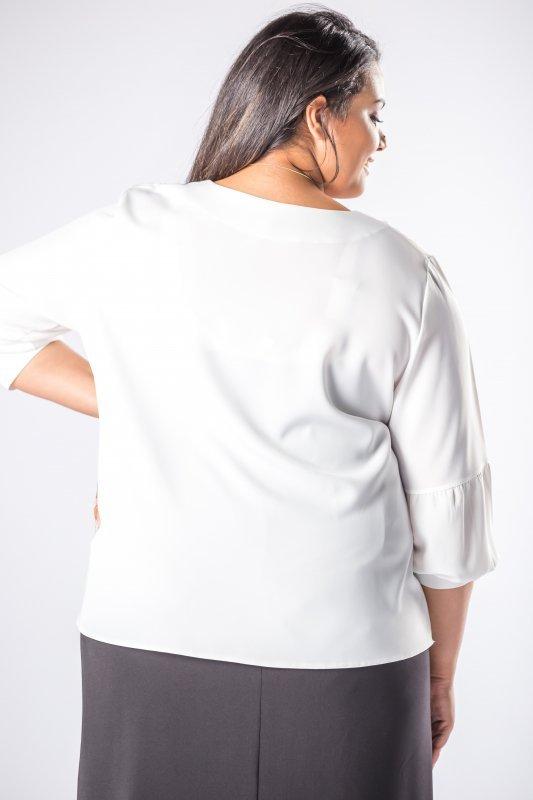 bluzka o koszulowym kroju z bufiastymi rękawami i zakładką z przodu