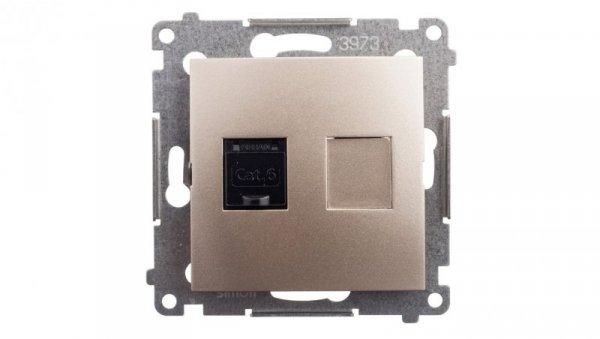 Simon 54 Gniazdo komputerowe pojedyncze RJ45 kat.6 z przesłoną złoty mat D61.01/44