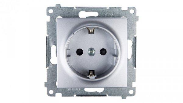 Simon 54 Gniazdo pojedyncze SHUKO 16A IP20 z przesłoną torów srebrny mat DGSz1Z.01/43