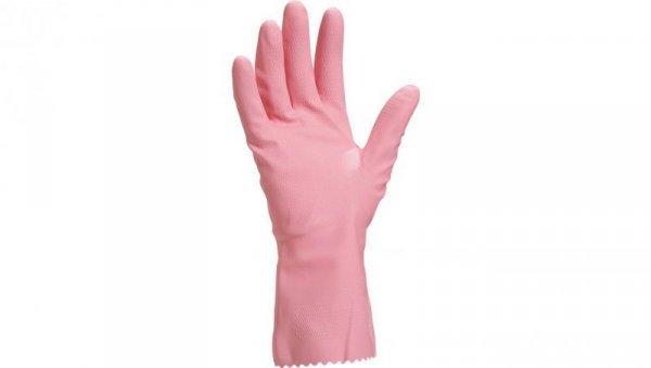 Rękawice gospodarcze gumowe lateksowe flokowane długość 30 cm różowe rozmiar 9 VE210RO09