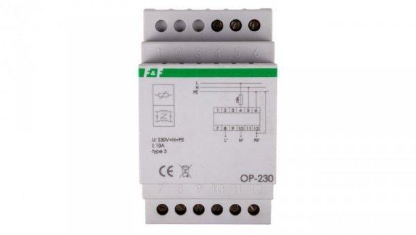 Ogranicznik przepięć D z potrójnym filtrem przeciwzakłóceniowym 2P 1kV OP-230