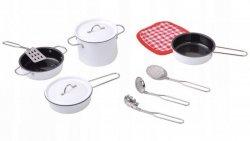 Akcesoria kuchenne metalowe garnki białe dla dzieci