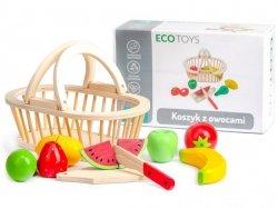 Zestaw drewniane owoce do krojenia + koszyk Ecotoys
